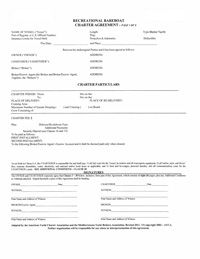 Recreational Bareboat Charter Agreement - Sample